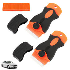 100 Pcs DIY Car Offroad Plastic Double Edged Razor Blades & 2 Pc Scraper Removal