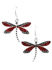 Dragonfly Dangle Drop RED Glitter Silver Tone Fashion Jewelry Earrings