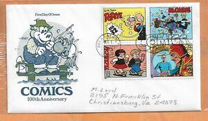 COMICS 100th ANNIVERSARY OCT 1995 BOCA ROTON FLA FDC ARTMASTER COVER