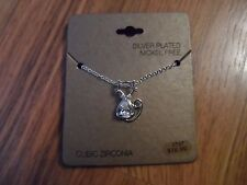 silver plated cat necklace ~ cubic zirconia nickel free
