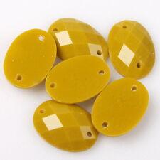 120pcs 24630 Yellow Oval Flatback Sew-on Resin Bead Applique 10x14mm Free P&P