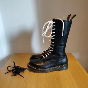 Dr Martens 1B99 Virginia Black Soft Leather Mid Calf Biker Boots 14 Hole Size 5