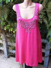 Crossroads PINK TOP Curved Hem. Bead Trim TUNIC Size L.16-18 NEW rrp $39.95
