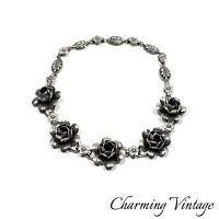Vintage COROCRAFT Sterling Silver Signed Floral Link Necklace