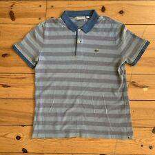 Lacoste Button Up Mens Blue Short Sleeve Striped Polo Shirt UK M