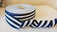 """38mm (1.5"""")  wide NAVY/WHITE WOVEN DOUBLE SIDED STRIPE RIBBON MILLINERY TRIM"""