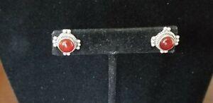 Vintage 925 Sterling Silver Carnelian Stud Earrings