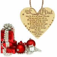 In Memory Of Dad Memorial Oak Wooden Heart Bauble Gift Christmas Tree Decoration