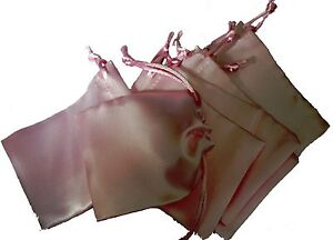 10 Satin Gift Bags Drawstring Pouches Jewellery Crafts Favour Wedding Party Bag