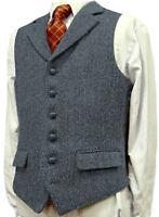 Men's Formal Vest Herringbone Tweed Notch lapel Waistcoat Tuxedo Business Formal