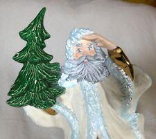 "Ceramic Santa Holding Christmas Tree Holiday Decor White Gold 10"" Tall Vintage"