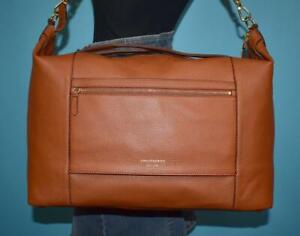 """COLE HAAN """"Grand Ambition Weekender Duffle"""" Brown Pebbled Leather Purse Bag $358"""