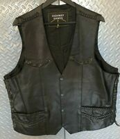 Mens Highway Motorcycle Black Leather Riding VEST 3XL Braided Trim Big & Tall