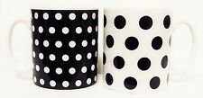 Black Dots and Spots Mugs Set of 2 Black & White Porcelain Mugs Decorated U.K.