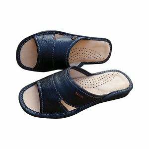 Women's Slippers Leather Slip On Sandals - Ladies Black Mules Slides Scuffs Size
