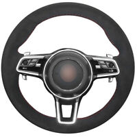 Black Suede DIY Car Steering Wheel Cover for Porsche Macan Cayenne 2015 2016