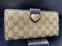 Auth GUCCI GG Logo Pattern Canvas Leather long Wallet Heart Italy Y-1508