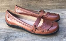 Hush Puppies Mary Jane Ballet Flats Women's 8M Brown Leather Strap Walking Shoes
