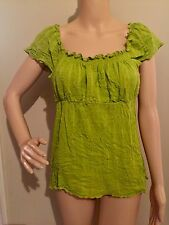 M green RUFFLED EMPIRE WAIST PEASANT blouse by CATO