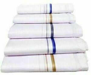 HANDKERCHIEF COTTON PLAIN WHITE STRIPE PURE SOFT FOR MEN FROM INDIA - F/Ship