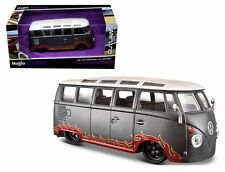 "MAISTO 1:24 W/B OUTLAWS - VOLKSWAGEN VAN ""SAMBA"" METALLIC GREY 31022"