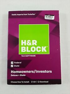 New Factory Sealed H&R Block Tax Software Deluxe + State Tax Software