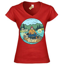 Time Is Like a Río Camiseta Barco Lake Natural Viaje Libre Mujer Cuello en V