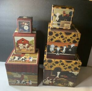 Nesting Lang Bob's Boxes Cows Country Farm Animals Sunflowers Set