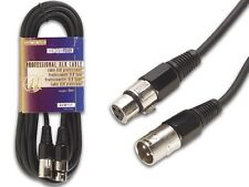 Velleman AVW111-3 PROFESSIONAL XLR CABLE, XLR MALE TO XLR FEMALE 9 3/4 ft BLACK