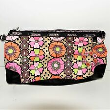Le Sportsac The OC Pouch Bag Zipper Closure Floral Pink Black