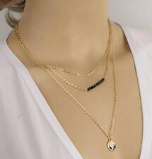 """Ladies Multilayered Gold Coin Beaded Necklace. Layers measure 15.75"""", 19.50"""" and"""