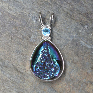 Offerings Sajen Sterling Silver Rainbow Window Druzy & Swiss Blue Topaz Pendant