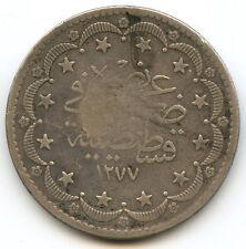 Turquie Abdoul Aziz 20 Kurush argent AH 1277 An 10 KM 693