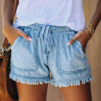 Womens Pocket Jeans Denim Pants Female Tassel Bandage Bottom Casual Shorts