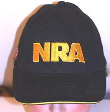 NRA NATIONAL RIFLE ASSOCIATION BALL CAP HAT BLACK GOLD FLAG 1 SIZE PRE-OWNED