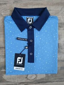 NEW FootJoy Mens Lisle Multi Dot Print Golf Polo Medium Lagoon/White/Navy 26611