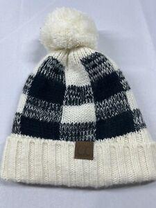 CC Beanie Black Cream Poof Fleece Lined Knit Buffalo Check Checkered Plaid