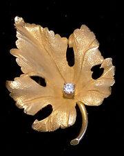 Vintage 1960's Signed TIFFANY 14K Gold & Diamond Leaf Pin Brooch Sku120138sa