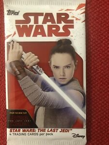 Star Wars The Last Jedi Topps 4 Trading Card Pack Sealed Disney