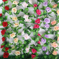2x 7.8ft Artificial Silk Rose Flower Ivy Vine Hanging Garland Party Home Decor