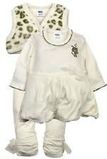 Dirkje Baby Girl 3tlg Ballon Kleid Leggings LEO Weste Fest Sand Gr. 68 NeU