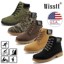 Men's Waterproof Leather Work Boots Water Boots Casual Lace Up Ankle Shoes Size