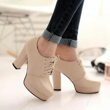 Womens Lace Up Platform Ankle Boots Plus Size Chunky Heel Round Toe Shoes Party