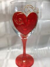 Hand Painted Bright Red Heart Design Gold Pattern Large Washable Wine Glass