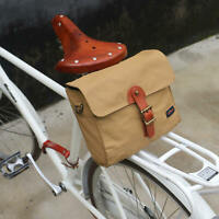 Tourbon Canvas Bike Seat Rear Pannier Pack Waterproof Cycle Messenger Bag Brown
