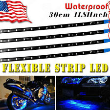 "Blue 4pcs 12"" 30CM/15 LED Car Motors Truck Flexible Strip Light Waterproof 12V"