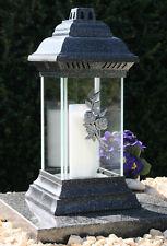 Grablaterne Grablampe Grableuchte Silber Grabschmuck 36cm inkl. Grablicht Kerze