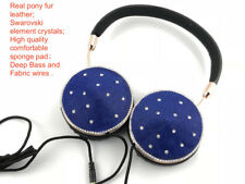 Blingustyle Real Fur Leather Crystal Design Fashion Foldable Ear-Cup headphone B