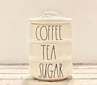 Rae Dunn COFFEE/TEA/SUGAR Large Stacked Ceramic Canister Cellar w/ Large Letters