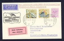 43463) AUA FF Frankfurt - Innsbruck 15.12.59, Karte ab Belgien